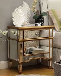 leiston mirrored with gold trim bedside