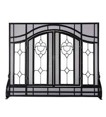 fireplace screen beveled glass panels