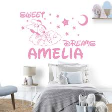Sweet Dreams Minnie Mouse Custom Name Vinyl Wall Sticker Decal Kids Name Decals For Baby Room Decoration Bedroom Decal Buy At The Price Of 1 96 In Aliexpress Com Imall Com