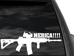 Amazon Com Fgd Funny Pro Gun Window Sticker M4 Merica In White 12 X4 5 Mer3 Second Amendment Decal Car Truck Suv Everything Else