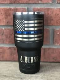 American Flag With Thin Red Line Or Thin Blue Line Firefighter Etsy In 2020 Blue Line Powder Coated Tumblers Thin Blue Lines