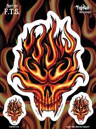 Flaming Skull Window Decal Sticker Set 1 Large 2 Small Custom Sticker Shop