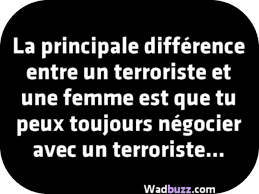 La principale différence entre un terroriste et une femme