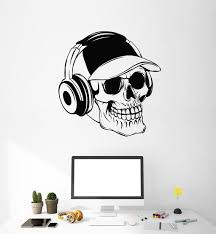 Gaming Wall Vinyl Decal Tagged Skull In Headphones Wallstickers4you