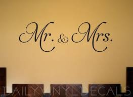Mr And Mrs Decal Mr Mrs Wall Decal Home Decor Vinyl Etsy Wall Decals Wedding Decal Wedding Wall Decorations