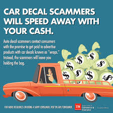Tennessee Department Of Commerce Insurance A Twitter Consumers Put The Brakes On Car Decal Scammers They Ll Promise You Easy Money In Exchange For Adding A Car Decal Wrap On Your Vehicle