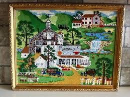 Vintage Farm Finished Framed Needlepoint Art Kids Room Decoration Ebay