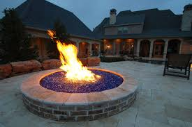 fire pit with blue glass rocks