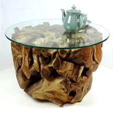 large round teak root coffee table