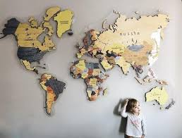 World Map Made Out Of Mdf Medium Density Fiberboard On An Acrylic Back Panel We Put A Lot Of Effort World Map Wall Decor Map Wall Decor Country House Decor