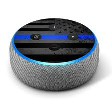 Thin Blue Line Distressed Vinyl Decal Skin Compatible With Amazon Echo Dot 3rd Generation Alexa Decorations For Your Smart Home Speakers Great Accessories Gift For Mom Dad Birthday Kids