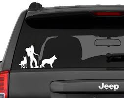 Decal Vehicle Window Sticker Woman Hiker With Two German Shepherd Dogs German Shepherd Dogs German Shepherd Funny German Shepherd