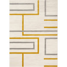geometric gold ivory gray area rug