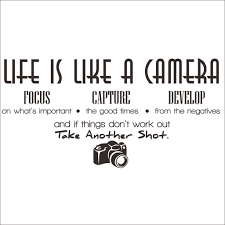 Amazon Com Hi Shop Life Is Like A Camera Quote Decors Wall Saying Decals Quote For Home Wall Stickers Nursery Decor 4 Home Kitchen
