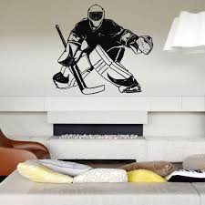 Hockey Player Ice Goalkeeper Wall Decals For Boys Bedroom Kids Room Nursery Wall Stickers Gym Sportsman Wall Art Pic Mural A72 Wish