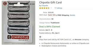 chipotle gift card for 42 50