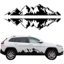 Amazon Com Giftcity Mountain Decal 1 Set Car Graphics Side Vinyl Sticker Decals For Cars Ford Suv Jeep Wrangler Universal Full Body Car Decals Black Automotive