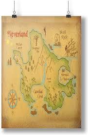 Amazon Com Innoglen Neverland Map Art Print A0 A1 A2 A3 A4 Satin Photo Poster P10060h Posters Prints