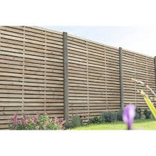 Forest Garden Pressure Treated Contemporary Double Slatted Fence Panel 6 X 6
