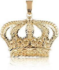 10k yellow gold open big crown charm