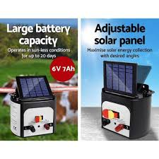 Giantz 8km 0 3j Solar Electric Fence Energiser Energizer Charger With Direct To Pet