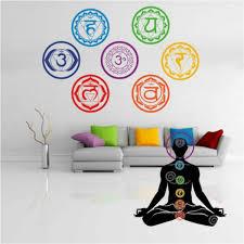 7pcs Set Colorful Seven Chakra Vinyl Wall Stickers Mandala Yoga Om Meditation Symbol Wall Decal Home Decor Wish
