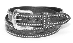 leather belt black tooled studded