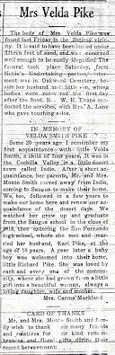 SCVHistory.com | Obituaries | Felda (aka Velda) Louella Smith Pike ...