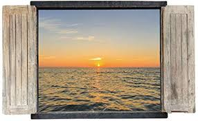 Amazon Com Fashionbeautybuy 3d Fake Window Sea Sunrise Wall Sticker Decal Home Decor Pvc Murals Wallpaper House Art Picture Living Room Adult Senior Teen Kids Baby Bedroom Decoration Home Kitchen