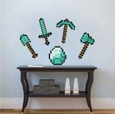 Minecraft Diamond Tools Wall Decals Minecraft Wall Modern Wall Decals Kids Wall Decals