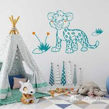 Leopard Wall Decal For Kids Room Jungle Animal Leopard Wall Etsy