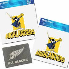 2 X Nz Super Rugby Highlanders Mega Car Decal Stickers W Free All Blacks Sticker Ebay