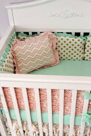 pink mint gold baby girl bedding idk
