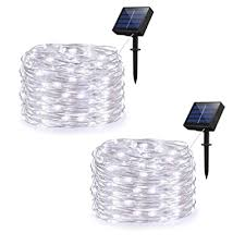 2 Pack 8 Modes 100 Led Solar Powered Outdoor Waterproof Tube Light Copper Wire Fairy Lights