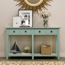 rustic console table with 4 drawers