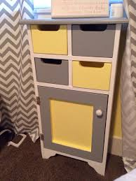 grey white and yellow side table for