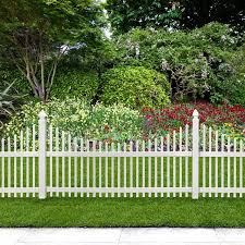 Veranda Chatham 4 Ft H X 8 Ft W Scalloped Top Spaced Picket Vinyl Fence Panel Includes 4 Brackets 306108 The Home Depot In 2020 Picket Fence Panels Garden Fence Panels Fence Landscaping