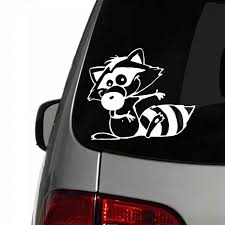 Cs 836 Raccoon Funny Car Sticker Vinyl Decal Silver Black For Auto Car Stickers Styling Car Decoration Aliexpress