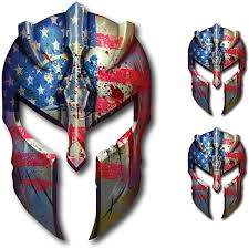 Amazon Com Spartan Helmet Decal Distressed Tattered Usa Gladiator American Flag Sticker 2nd Amendment Molon Labe Kitchen Dining
