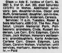 Ada Olson obituary - Newspapers.com