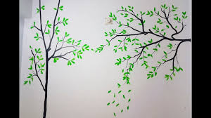 Simple Tree Wall Painting With Texture Youtube