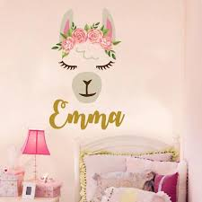 Personalized Llama Wall Decal Girls Name Vinyl Decals Sticker Etsy