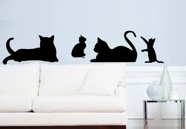 Cat And Kitten Wall Decals Cat Silhouette Decor Veterinary Etsy
