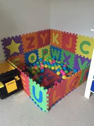 Foam Alphabet Mats Used To Make A Ball Pit Chic Kids Diy Baby Stuff Playroom Organization