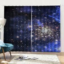 Blue Starry Sky Waterproof Blackout Curtains For Kids Room Living Room Ebay