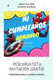Invitacion De Cumpleanos Capitan America