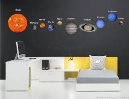 Printed Solar Planets Wall Sticker Living Room Office Printed Wall Decals Solar Planet System Su Space Decals Wall Stickers Living Room Fabric Wall Decals