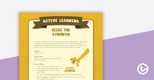synonym active game teaching resource
