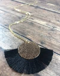 long layered gold necklace tassel