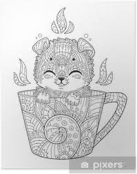 Puppy In Cup Adult Antistress Coloring Page With Dog In Zentangle